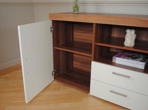 Sydney White & Walnut Large Sideboard & TV Cabinet 140cm Unit Living Room Furniture Set