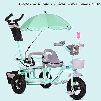 BABY STROLLER ZLMI El bebé Tres-rodado Carro de Dos Pasos del Ajuste del Asiento esPesó y agrandaron los neumáticos neumáticos Libres del Cuerpo 1-6 años