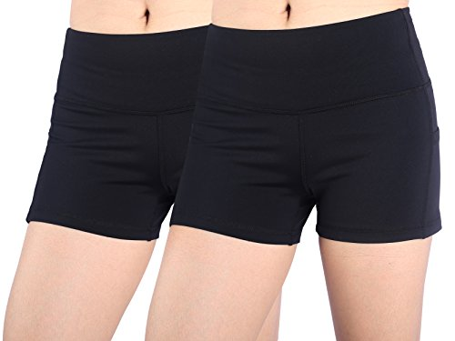 Femme Short Large Rose Rouge Shorty Pantalons Sport Culotte Capri Yoga Joggings Noir+Noir/M