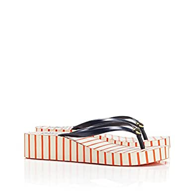 Tory Burch Women's Thandie Wedge Flip Flop Poppy Red Rubber Flip-Flops and House Slippers - 4.5 UK