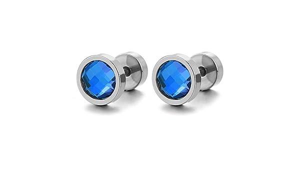 Homme Femme Cercle Boucles doreilles avec 6MM Bleu Arc-en-ciel Cristal Bouchon Faux Cheater Fake Gauges Plugs Acier