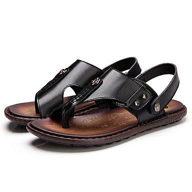 Herren Sandalen Sommer Comfort Light Sohlen Rindsleder Outdoor Casual flachem Absatz verzierte Wasser Schuhe Black