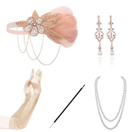 KQueenStar 1920er Jahre Zubehör Set Flapper Kostüm Accessoires für Damen 20s Gatsby Jahre Stirnband Kopfschmuck Ohrringe Perlen Halskette Handschuhe Zigarettenspitze (Der Große Gatsby Kostüm 1920)