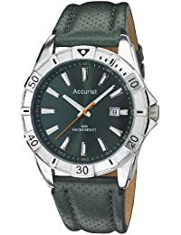 Accurist Men's Quartz Watch with Green Dial Analogue Display and Green Leather Strap Ms849E