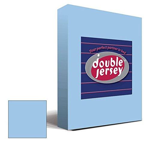 Double Jersey - Spannbettlaken 100% Baumwolle Jersey-Stretch bettlaken, Ultra Weich und Bügelfrei mit bis zu 30cm Stehghöhe, 160x200x30 Himmelblau - 2