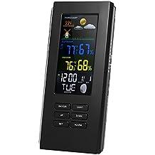 MagiDeal Estación Meteorológica de Multifuncional Reloj Digital Alarma Transmisor Receptor Adaptador - Negro