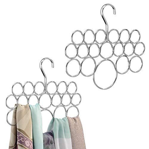 mDesign Set de 2 perchas para pañuelos - Juego de dos colgadores de pañuelos, chales, bufandas y complementos - Cada organizador de armarios tiene 18 prácticos aros - Acero plateado