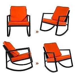 Chaise de Maison Patio en Osier À Bascule Armé Extérieur Jardin Salon Repose-Pied Chaise en Bois Chaise en Rotin À…