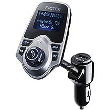 Transmisor FM para Coche, Pictek FM Transmisor Bluetooth con Cargador de USB (5 V / 2.1 A), 3.5mm Puerto de Micro SD para Tabletas, Reproductores de MP3, Móviles y otros dispositivos que tienen audio jack de