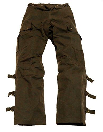 Überziehhose in schwarz und braun aus gewachster Baumwolle zum Motorrad fahren oder zum Reiten, wasserabweisend und atmungsaktiv