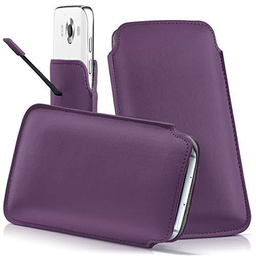 moex Nokia Lumia 730   Hülle Lila Sleeve Slide Cover Ultra-Slim Schutzhülle Dünn Handyhülle für Nokia Lumia 730/735 Dual SIM Case Full Body Handytasche Kunst-Leder Tasche