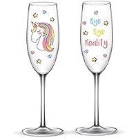 EinhornLiebe Unicornio Amor® ® Unicornio Copas de Cristal Bye Bye Reality para champán o Cava 2Unidades en Caja Regalo