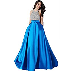 Muta Fashions Women's Satin Dress (GOWN00033_02_Blue_Free Size)