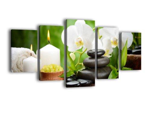 Leinwandbild Wellness LW399 Wandbild, Bild auf Leinwand, 5 Teile, 210 x 100 cm, Kunstdruck Canvas, XXL Bilder, Keilrahmenbild, fertig aufgespannt, Bild, Holzrahmen, Orchidee, Wellness, Entspannung