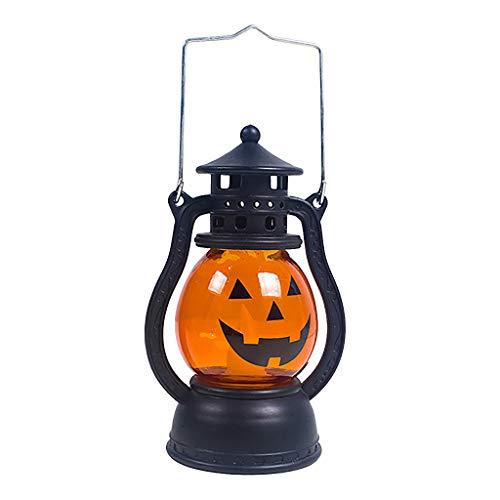Riou Halloween Deko,Halloween Vintage Laterne Party Hanging Decor LED Kürbis Licht Lampe Tragbares Nachtlicht für Party Garten Weihnachten Fasching Karneval Beleuchtung Dekoration (Orange C, Free)