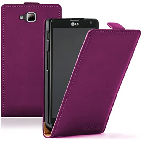 Membrane - Ultra Slim Morado Funda Carcasa para LG Optimus L9 II (D605) - Flip Case Cover