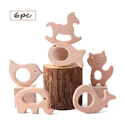 Best for baby 6pc Hölzern Ring Baby Beißring Spielzeug DIY Anhänger Hölzern Bären Kopf Igel Elefant Mickey Kopf Kaninchenkopf Ungiftig Natural Buche Pro