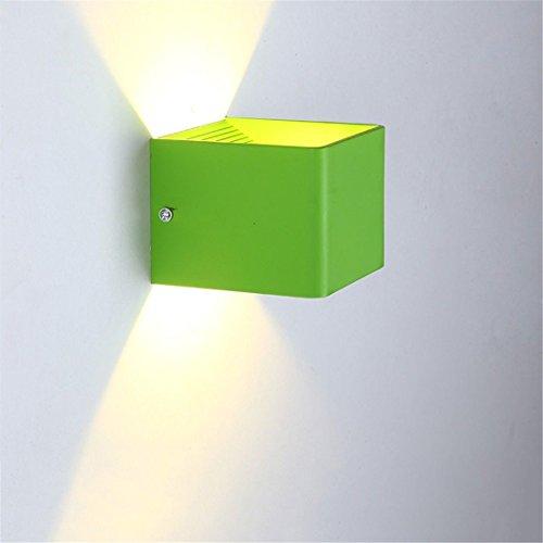 JJZHG Wandleuchte Wandlampe Wasserdicht Wandbeleuchtung Rückwand Lampe Gang Nachttischlampe Schlafzimmer kreative Korridor Kinder Bunte LED Quadrat kleine Wand,Tee grün 7W warmes Licht Wandlampe (Tee Lichter Led Grüne)