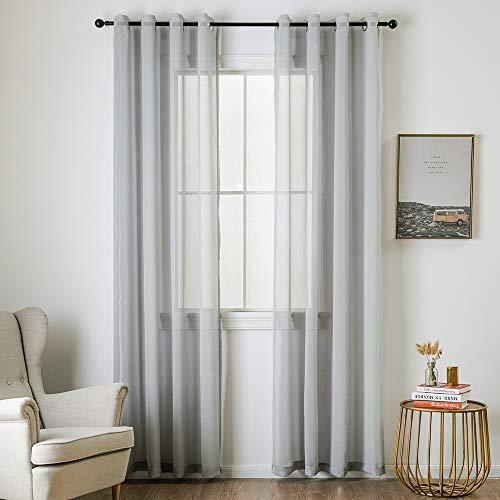 Miulee tende 2 pannelli trasparenti in voile con occhielli morbidi finestre per camera da letto e soggiorno 140x260cm grigio