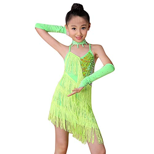 Zolimx Mädchen Latin Ballett Kleid Party Dancewear Ballsaal Kostüme, Pailletten Quaste Latin Praxis Tanzrock + Kette + Ärmel + Sicherheitshose 4Pcs Kostümanzug (Ballsaal Kostüm Mädchen)