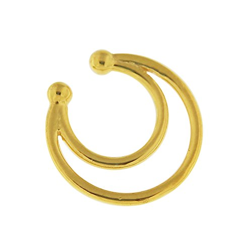 Double cercle Horseshoe Style 925 bijoux en argent Sterling Septum faux nez anneau Septum Or