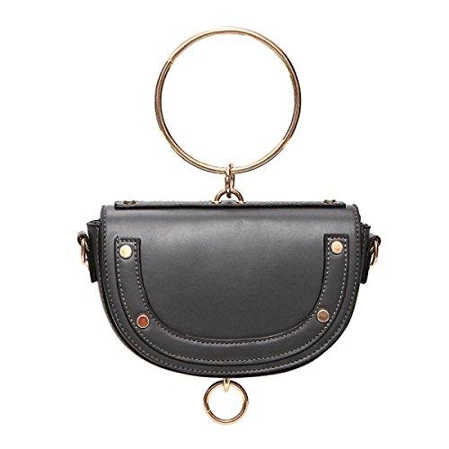 ZPFME Frauen Handtasche Mini Retro Sattel Tasche Mädchen Party Retro Damen Mode Ring Schultertasche Messenger Bag Grey