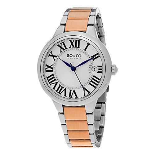 SO & CO New York Damen Analog Quarz Uhr mit Edelstahl Armband 5052B.3