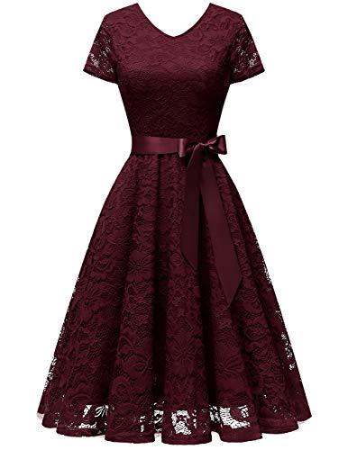 bridesmay Damen 50S Retro Spitzenkleid Kurzarm Elegant Brautjungfernkleid Abendkleider Burgundy S -