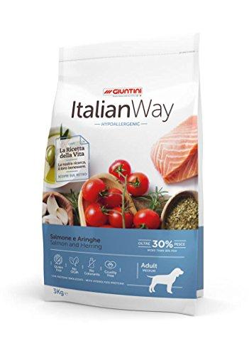 Giuntini Italian Way Crocchette per Cani - ricetta Ipoallergenica al Salmone e Aringhe - Adult - Medium - 12000 gr