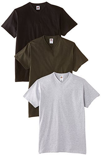 fruit-of-the-loom-valueweight-v-neck-t-3-pack-t-shirt-homme-multicolore-mehrfarbig-multicoloured-cha