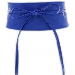 Fashiongen - Cinturón obi cuero artificial Mica - Cian, Talla única