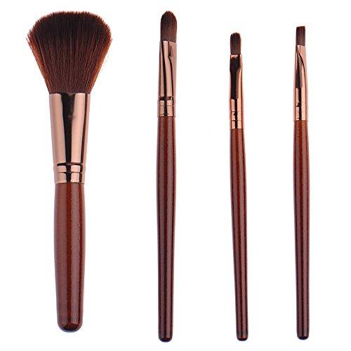 LianLe®4Pcs Kit de Pinceaux Maquillage Pinceaux Fard à Paupières Manche En Bois Kit Outil de Maquillage pour Les yeux