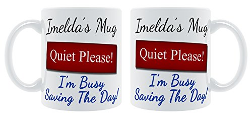 Andre'Becher leise Bitte I'm Busy Saving The Day!-Tasse, personalisierbar mit Namen -