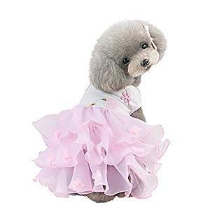 EUZeo Haustier Hund Bottoming Rüschen Blumen Kleid Kleidung Katze Breathable Schön Kleider Spitzenkleider Haustierbekleidung Kleidung für Kleiner Hund Kleine Katze Sommer Frühling Ballkleid Tüllrock