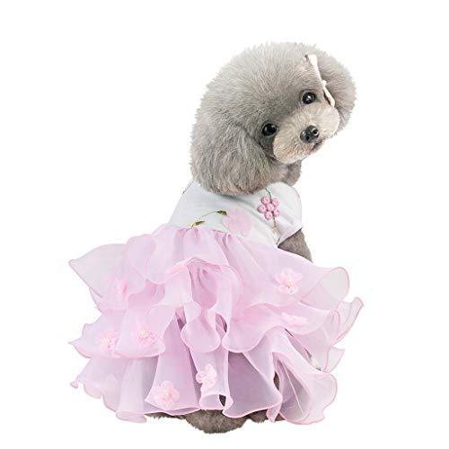 Xmiral Tutu Abiti per Cani di Piccola Taglia Vestitino per Gatti e Cani di Piccola Abiti per Cani Grandi Netto Velo nebbioso S Rosa