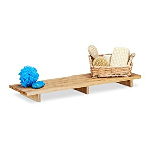 Relaxdays Bathtub Caddy Bamboo, Bath Storage Tray HxWxD: 6 x 70 x 22 cm, Modern Bathtub Bridge, Natural