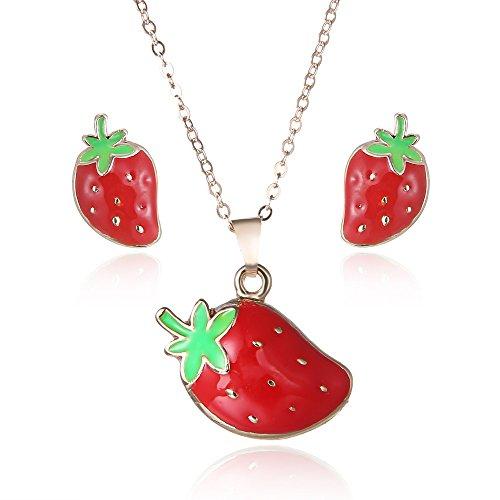 Rote Erdbeere Schmuck Sets Kits für Frauen Mädchen Fruchtschmuck Ohrringe Halsketten Kostüm Hochzeit Zubehör (Kostüm Hochzeiten Schmuck Für)
