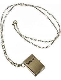 PIXNOR de Death Note Reloj de bolsillo collar, portátil con tapa reloj de bolsillo ((negro)