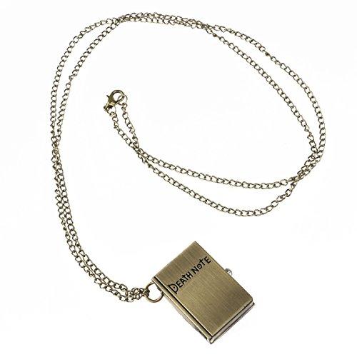 Pixnor death note orologio da tasca collana, notebook flip orologio da tasca bronzo