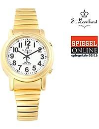 St. Leonhard Sprechende Armbanduhr: Sprechende Funk- & Solar-Seniorenuhr, vergoldet (Sprechende Senioren Funk Armbanduhren)