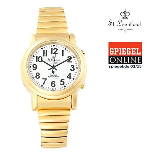 St. Leonhard Sprechende Uhr: Sprechende Funk- & Solar-Seniorenuhr, vergoldet (Blindenuhr)