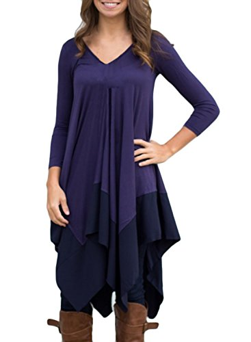 Azbro Women's Asymmetric Splicing Hem Stretched Knit Dress purple