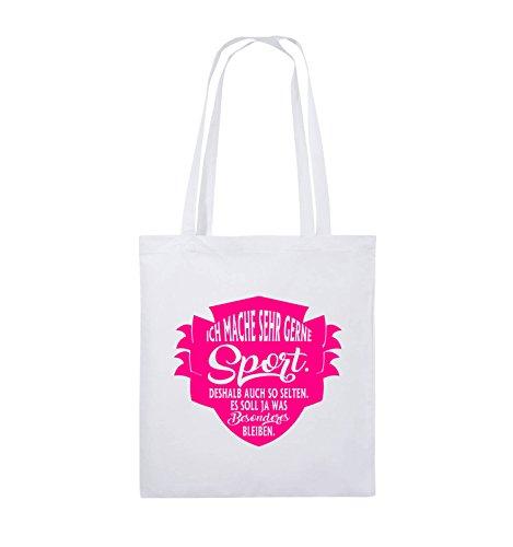 Comedy Bags - Ich mache sehr gerne sport deshalb auch so selten - Jutebeutel - lange Henkel - 38x42cm - Farbe: Schwarz / Pink Weiss / Pink