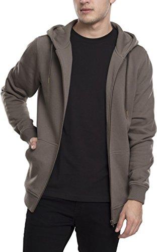 Urban Classics Herren Kapuzenjacke Basic Zip Hoodie - einfarbiges Sweatshirt mit Kapuze, Kapuzenpullover mit Reißverschluss - Farbe army green, Größe XXL (Hoodie Zip Strickjacke)