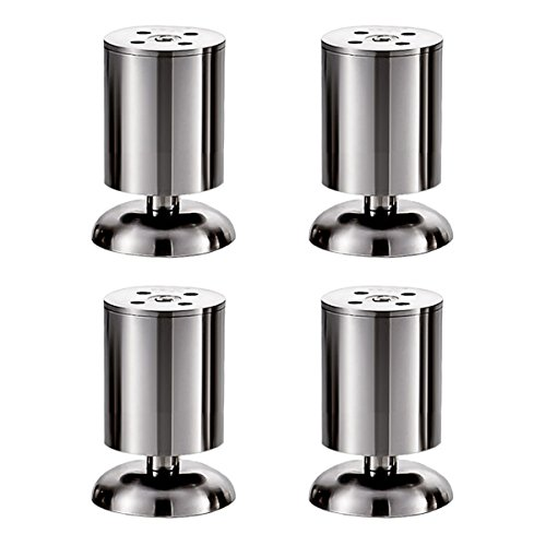 Rzdeal 100x 50mm meubles Pieds réglables en acier inoxydable avec vis Canapé Table Cabinet Lit rond jambes, Lot de 4