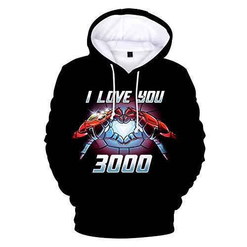 SuaMomente Mode 3D Hoodies gedruckt Film Hoodie Pullover Grafik Sweatshirts mit Kapuze mit großen Taschen Unisex,XL (Iron Kostüm Man Paare)