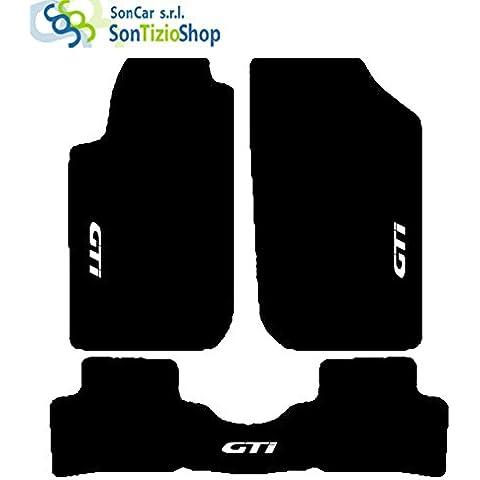 Alfombra negro de Auto. Juego de alfombrillas de moqueta artesanales y a medida para PEUGEOT 206, diseño con cenefa de cable: GTI 98 La alfombra. Trasero completo.