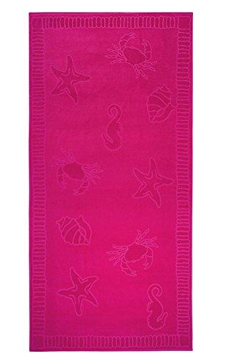 Telo mare di qualita - Dimensioni XXL 100x200cm - puro cotone 100% - Design Conchiglie - Colore FUCSIA