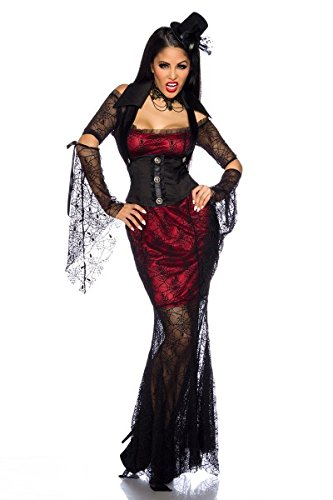 Hexe Muster Damen Kostüm - Yourdesignerz sexy Hexen Kostüm Outfit Damen schwarz-rot XS-M Verkleidung sexy Kleid, Corsagen-Weste, Kragen, 2 Ärmel