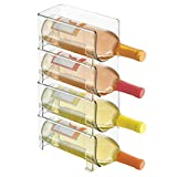 mDesign Range-Bouteilles en Plastique - Support pour Bouteilles empilable et modulable pour Stockage de 4 Bouteilles de vin et d'Eau - aménagement Pratique de la Cuisine - Couleur : Transparent